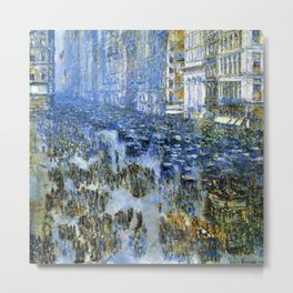 Classical Masterpiece Fifth Avenue In Winter by Frederick Childe Hassam Metal Print
