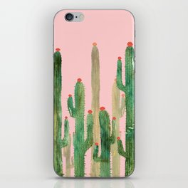 Cactus Four on Pink iPhone Skin