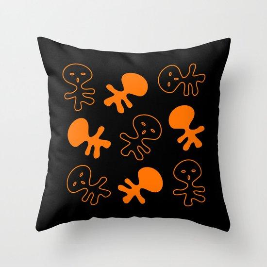 Aliens-Orange Throw Pillow