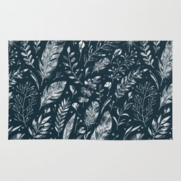 Feathers And Leaves Abstract Pattern Black And White Rug