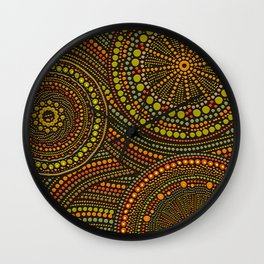 Dot Art Circles Aboriginal Art #2 Wall Clock