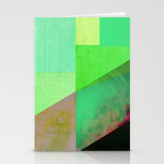 Green City Abstract Stationery Cards