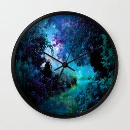 Fantasy Garden Path Teal Purple Wall Clock