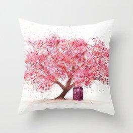 Tardis Tree Art Blossom Throw Pillow