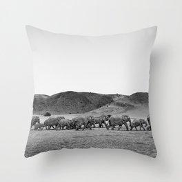 Damaraland Desert Elephants Throw Pillow