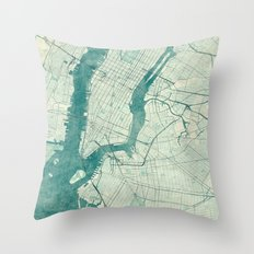 New York Map Blue Vintage Throw Pillow