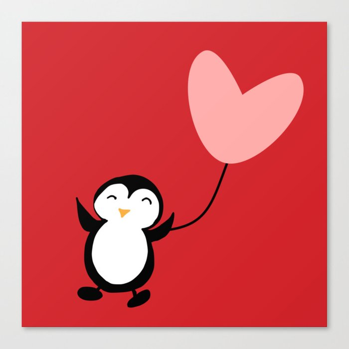 Penguin in love red Canvas Print