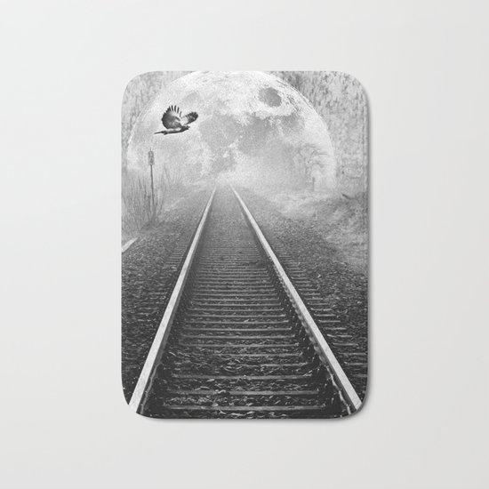 Railway to the moon in b&w Bath Mat
