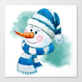 Blue Snowman 02 Canvas Print