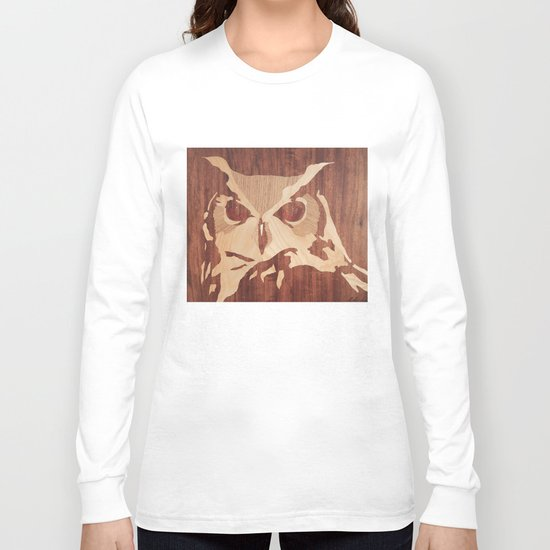 Owl marquetry art picture Long Sleeve T-shirt
