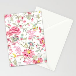 dainty cottagecore floral packed pattern - red/pink Stationery Cards
