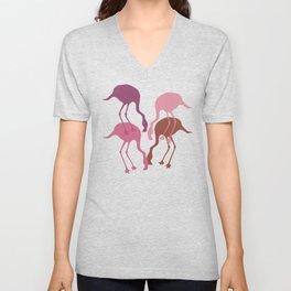 Pink Flamingo Camouflage Pattern Unisex V-Neck