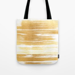 Abstract faux gold white modern paint brushstrokes Tote Bag