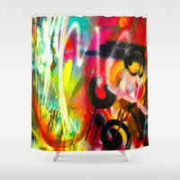 bacon Shower Curtains featuring BACON by soem2014