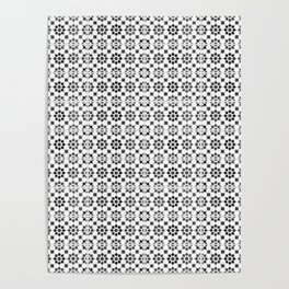 Oriental Style Mosaic Pattern  - Black and White Poster
