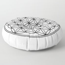 Flower of life in black, sacred geometry Floor Pillow