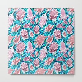 Pink and blue glittery australian native floral print Metal Print