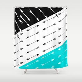 Turquoise black white pattern Boom 2 . Shower Curtain