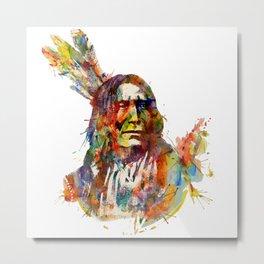 Chief Mojo Watercolor Metal Print