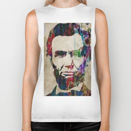 Abraham Lincoln Watercolor Modern Abstract GIANT PRINT ART Biker Tank