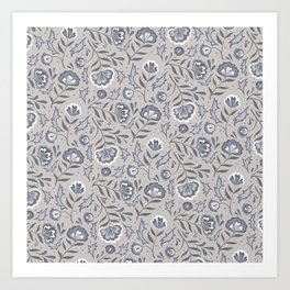 Floral Roma (Warm Gray) Art Print
