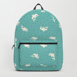 Polka Dots & Dolphins (Teal) Backpack