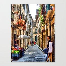Santa Maria street in Guimaraes, Portugal Canvas Print