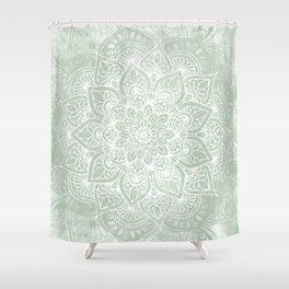 Mandala, Yoga Love, Sage Green, Boho Print Shower Curtain