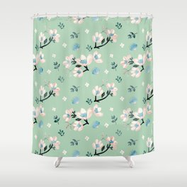 Be who you want to be - pastel flowers in mint Shower Curtain