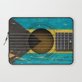 Old Vintage Acoustic Guitar with Bahamas Flag Laptop Sleeve