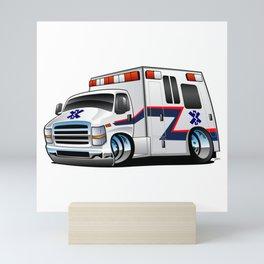 Paramedic EMT Ambulance Rescue Truck Cartoon Mini Art Print