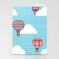 hot air balloons Stationery Cards featuring Cozy Hot Air Balloons by The Wellington Boot