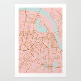 Pink and gold Hanoi map, Vietnam Art Print