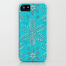 DP044-11 Silver snowflakes on turquoise iPhone Case