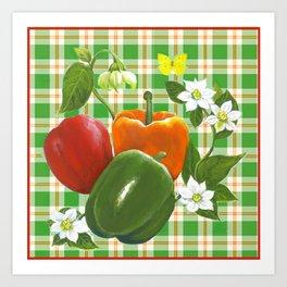 Peppers On Plaid Art Print