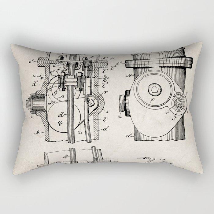 Fire Fighter Patent - Fire Hydrant Art - Antique Rectangular Pillow