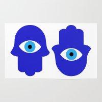 evil eye Area & Throw Rugs featuring Evil Eye by Marcaccini Studios