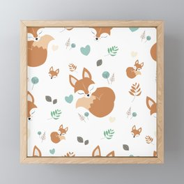 Cute Cartoon Sleepy Fox Pattern Framed Mini Art Print