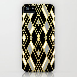 Art Deco Grey Gold iPhone Case