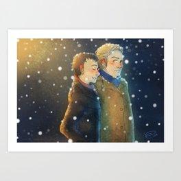 Snow Stroll Art Print