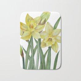 Watercolor Daffodils Botanical Illustration Bath Mat
