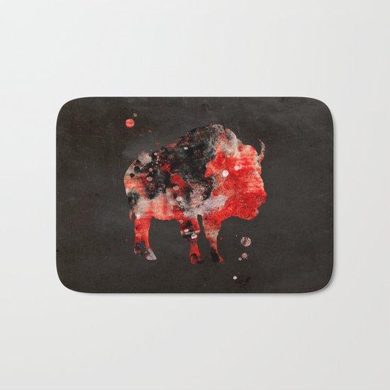 Watercolor Buffalo Bison Painting Black Red Grunge Bath Mat