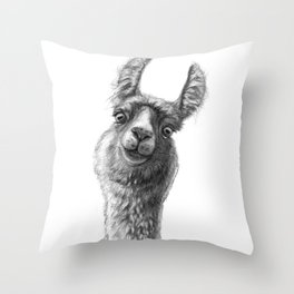 Cute Llama G135 Throw Pillow