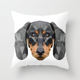 Dachshund | Low-poly Art Throw Pillow