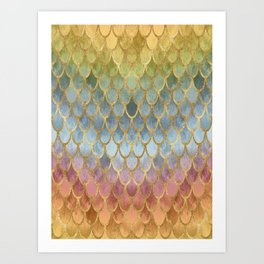 Colorful Fall Mermaid Scales Pattern gold Art Print