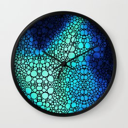 Storm Flight - Blue Aqua Abstract Art Stone Rock'd Print Wall Clock