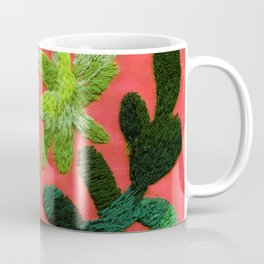 tropical leaves embroidered pattern Coffee Mug
