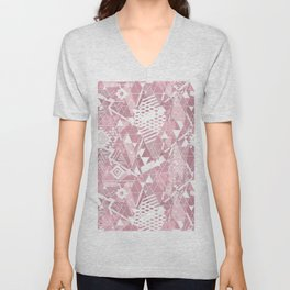 Abstract ethnic pattern in dusky pink, white colors. Unisex V-Neck