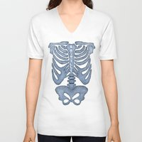 bastille V-neck T-shirts featuring Bastille Skeleton by OhHolyBastille