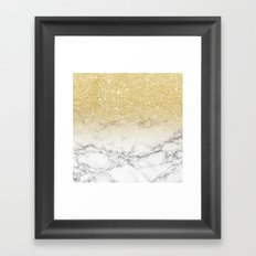 Modern faux gold glitter white marble color block Framed Art Print